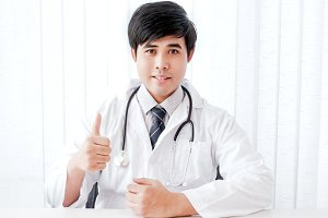 Asian doctor with stethoscope