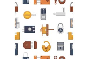 Lock vector padlock with keyhole for safety and security locking system with locked secure mechanism to interlock or lockout doorlock illustration set seamless pattern background