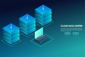 Data center isometric banner with laptop and servers