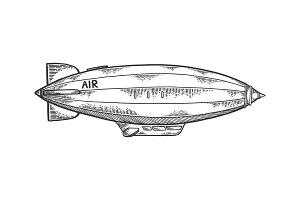 Airship dirigible engraving vector illustration