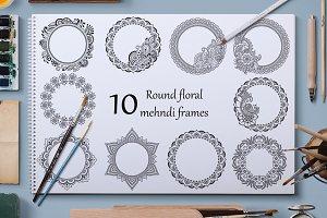 10 Round floral mehndi frames