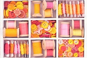 sew Collection, yellow, red, pink