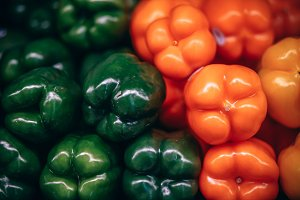 Green and Orange Peppers