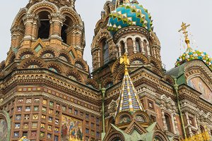 SAINT PETERBURG/RUSSIA-09 DESEMBER 2018: The Church of the Savior on Spilled Blood, one of the main sights of St. Petersburg, Russia. This Church was built on the site where Tsar Alexander II was assassinated and was dedicated in his memory.