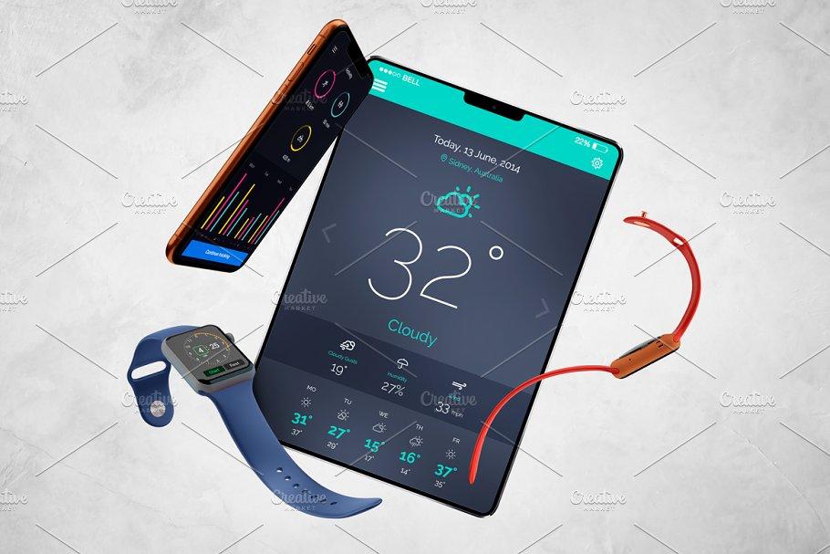 Apple Watch Iphone Ipad Mockup Creative Mobile Web Mockups