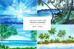 Seascapes. Watercolor illustrations
