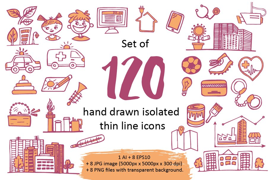 Set of 120 hand drawn line icons