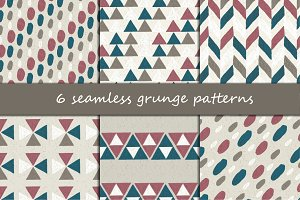 6 seamless grunge patterns
