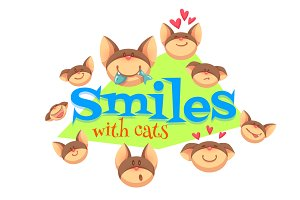 Set of smiles with cat