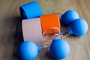 colored kinesio tapes with medical banks