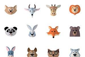 Animals characters flat set
