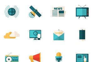 Social media flat icons set