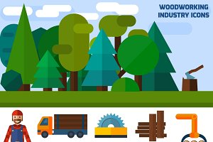 Woodworking industry icons set