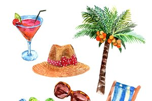Tropical vacation  watercolor icons