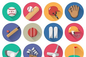 Sport icons flat set