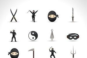 Ninja icons flat set