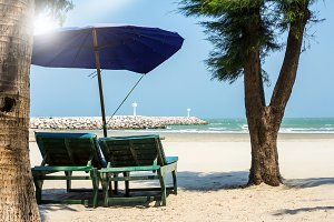 Chair on the beach with sunlight