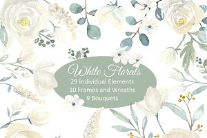 White Floral Watercolor Collection I
