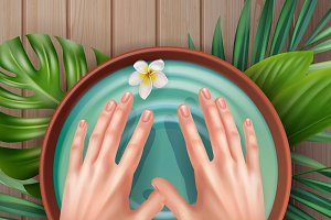 Hands and spa water with flowers
