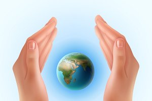 Hands for concept save our planet