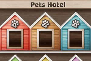 Hotel for pets, colored doghouse