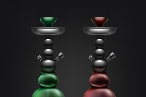 Red and green hookahs