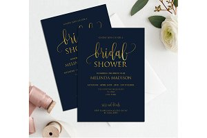 Navy Gold Bridal Shower Invitation,