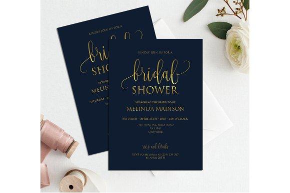 navy gold bridal shower invitation invitations