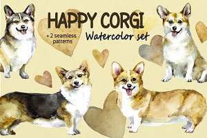 Happy corgi Watrcolor set