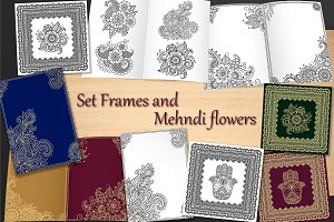 Set Frames and Mehndi flowers