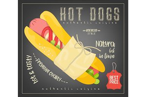 Hot Dog on Chalkboard