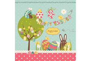 Easter Clip Art, Retro Easter eggs