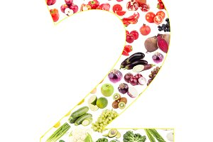 Numeral made from fruits and vegetables, isolated