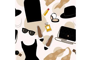 Seamless background with retro fashion objects: women hats, shoes, bags, lipsticks, eyeglasses, perfume. Old-fashioned retro-styled design.