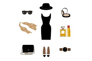 Set with retro fashion objects: women hats, shoes, bags, lipsticks, eyeglasses, perfume. Old-fashioned retro-styled design.
