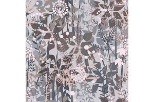 Fairy forest background. Floral seamless pattern with doodle plants, flowers, bushes, and grass. Pleasant pastel grey, pink, and brown palette. Vector illustration