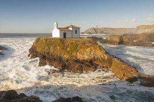 Little chapel in Galician coast