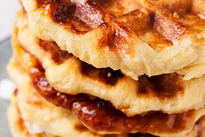 Homemade Belgian Liege or sugar waffles prepared with pearl sugar, shallow DOF