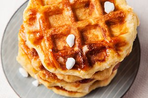 Homemade Belgian Liege or sugar waffles prepared with pearl sugar