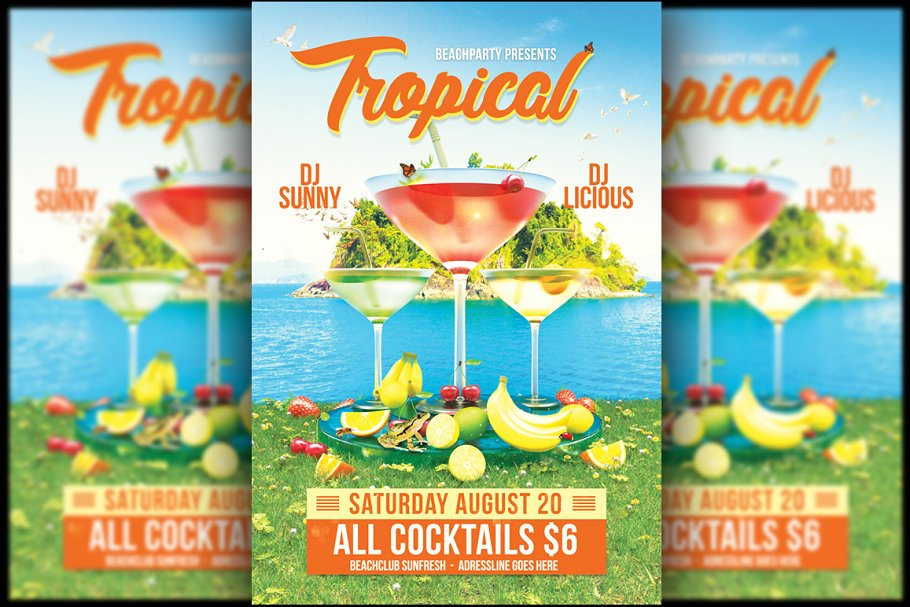 Tropical Cocktail Flyer