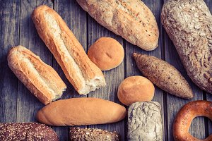 diverse fresh bread