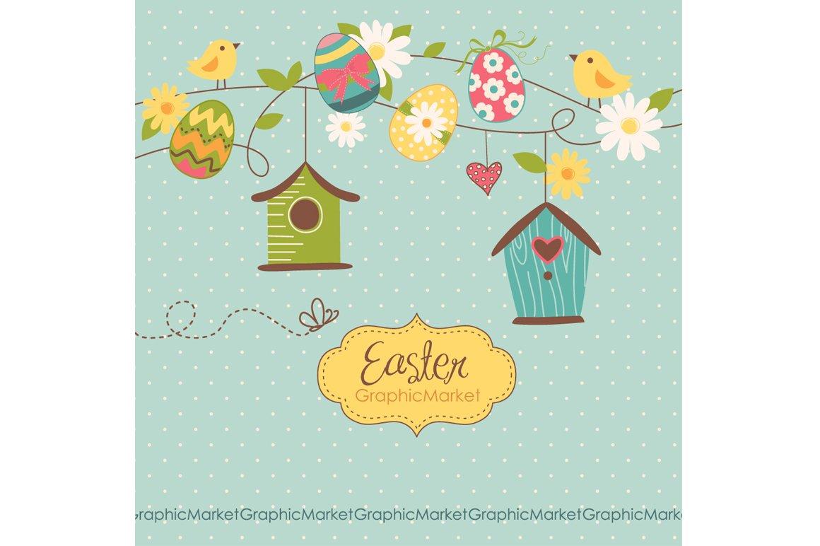 Easter Clip Art, Birds, Retro Eggs