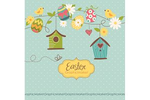 Easter Clip art, birds, retro eggs