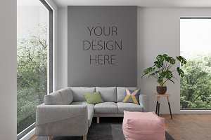 Interior mockup wall art background