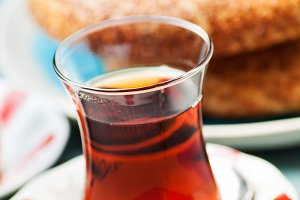 Turkish food: simit bread and cup of tea