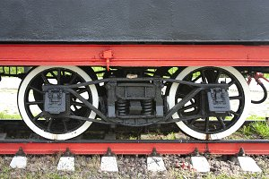 Wheels of an old steam locomotiv of