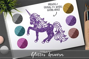 Glitter Unicorn Clipart Set