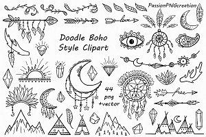 Doodle Boho Style Clipart