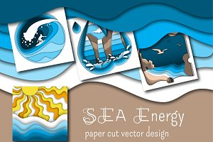 Sea Energy. Paper cut vector design