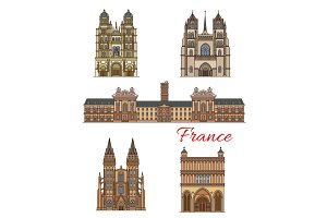 France landmarks vector travel buildings icons
